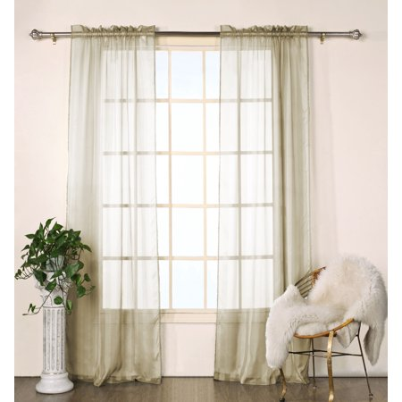 Set of Two (2)  Sheer  Window Curtain Panels: Taupe Satin Stripe, 76
