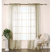 """Set of Two (2)  Sheer  Window Curtain Panels: Taupe Satin Stripe, 76""""W x 84""""L"""