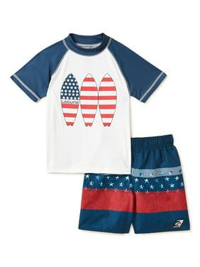 Under Armour Boys Americana Swim Set UPF 50 Rash Guard Trunks Size 4-7 NEW