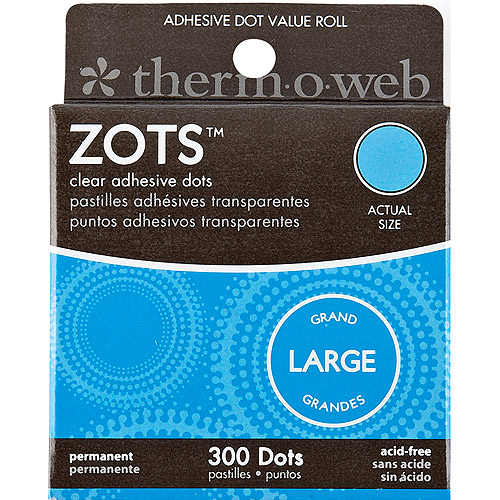 "Zots Clear Adhesive Dots Value Pack Box, Large, 1/2"" x 1/64"" Thick, 300pc"