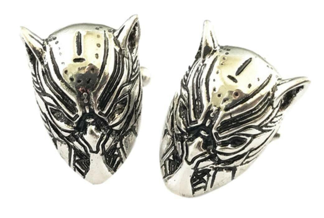 Black Panther Character Mask Metal Enamel Cuff Links