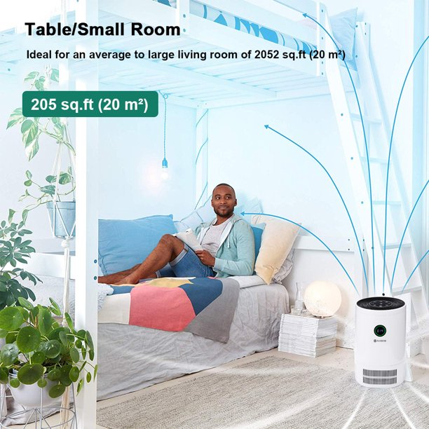 AUGIENB Large Room Air Purifier Cleaner with 3 Layer True HEPA Filter 10 Million Negative Ion Odor Dust Mold Smoke Air Cleaner Pm2.5 200m3/h for Allergies Pets Odor Eliminator