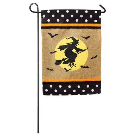 Burlap Glitter Witch On A Broom Halloween Garden Flag - Halloween Witch On A Broom