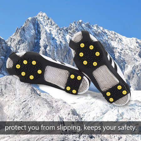 - TOPINCN Outdoor Snow Antiskid Spikes Grips Mountain Climbing Footwear Ice Traction Cleats, Snow Traction Cleats, Ice Traction