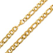 Mens Heavy Solid 11MM Gold Plated Stainless Steel Figaro Chain Necklace For Men For Teen 24 30 Inch Lobster Claw Clasp