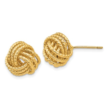 14K Yellow Gold Polished & Twisted Love Knot Post Earrings - image 2 de 2
