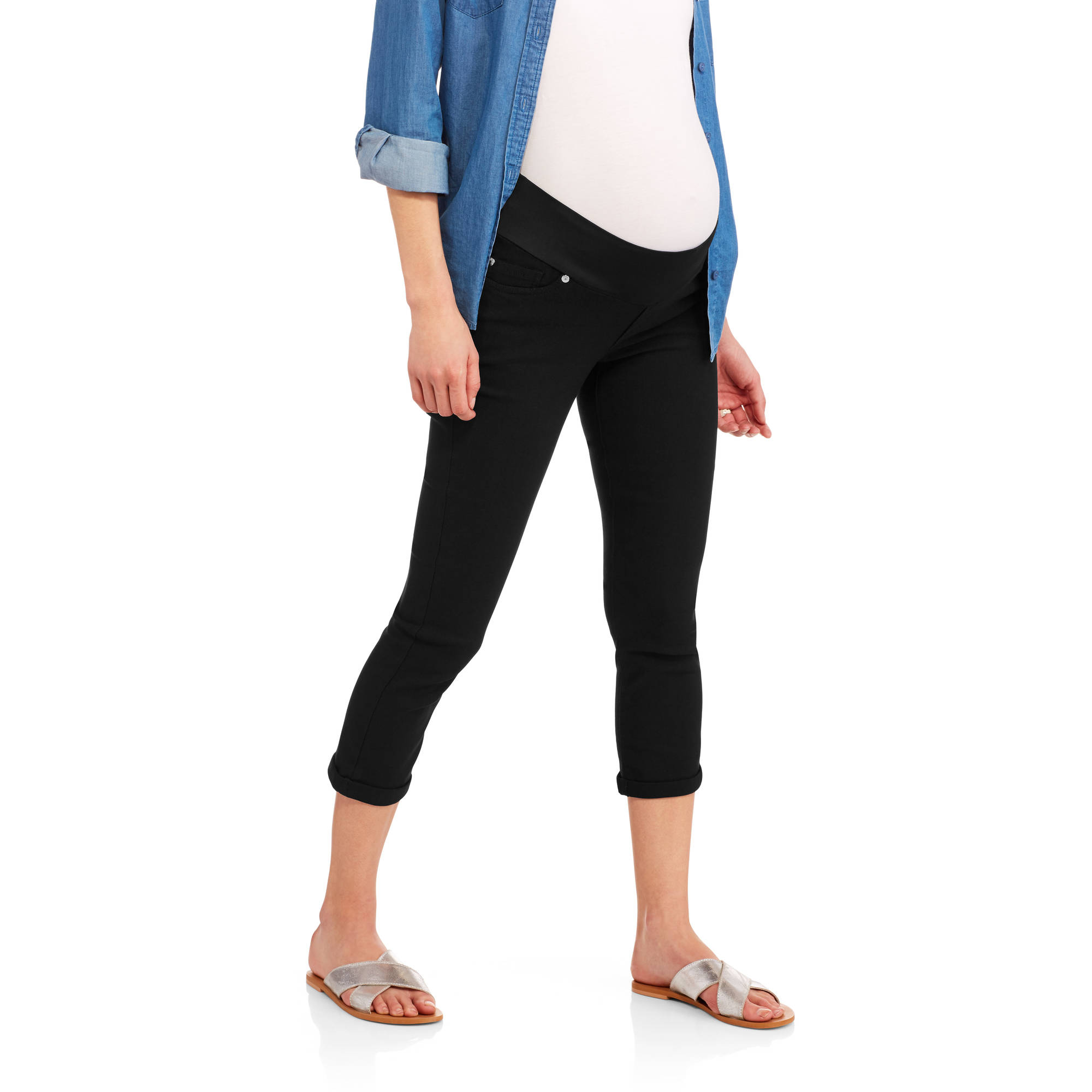 Oh! Mamma Maternity Demi Panel Stretch Twill Capri with 5 Pockets and Roll Cuffs