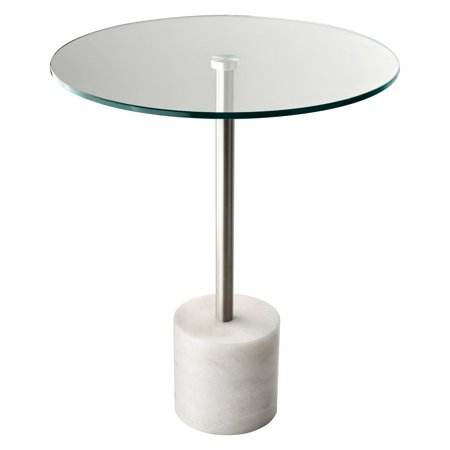 Blythe End Table Marble Base and Glass Table Top, Multiple Colors ()