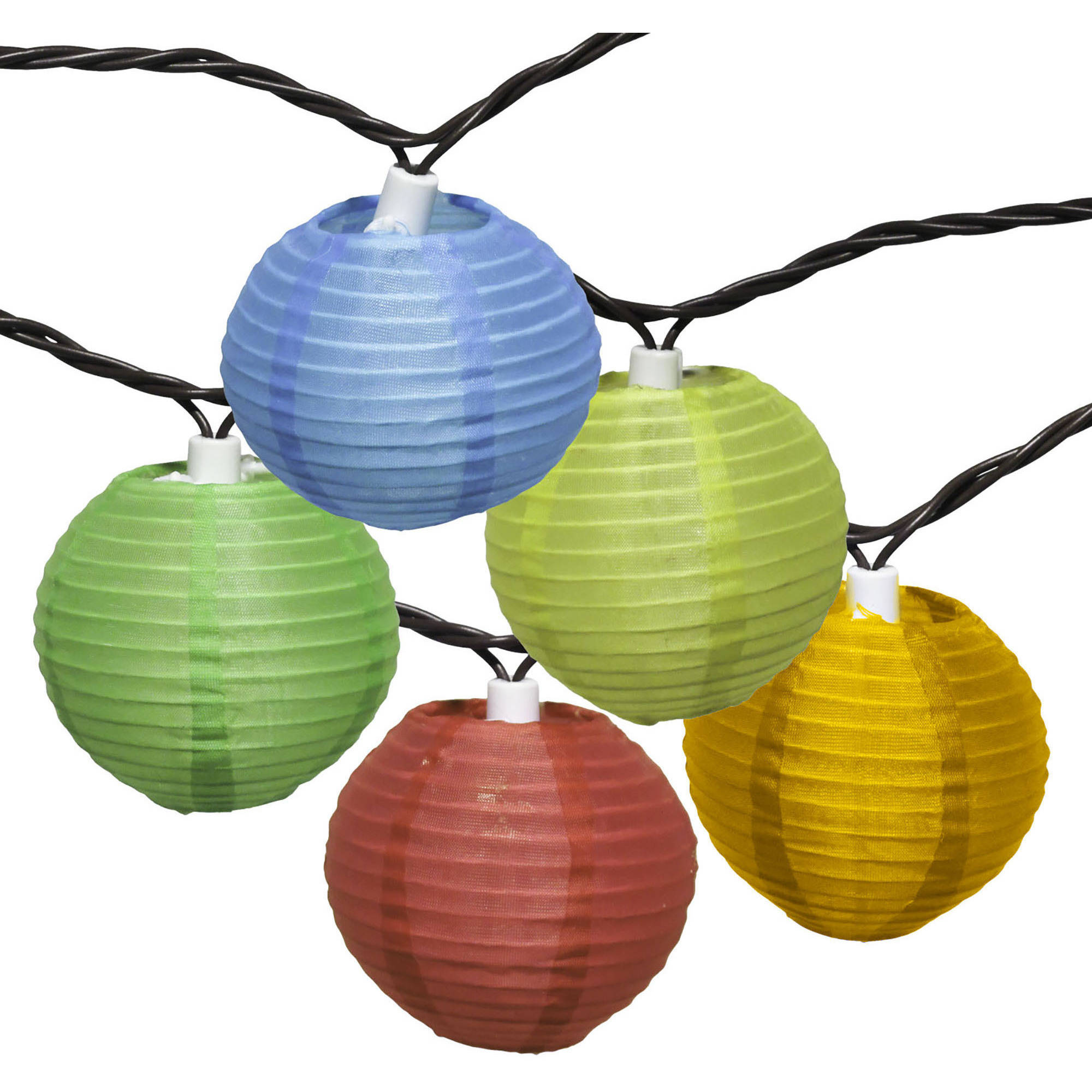 Mainstays 10-Count Multicolor Fabric Lantern String Lights