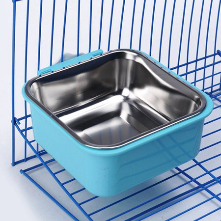 AkoaDa New Stainless Steel Dog Bowls Can Be Fixed In A Cage Hanging Bowl Pet Food Water Drink Dishes Feeder For Cat Puppy Pet Dog Feeder Bowls Blue Pet Feeder