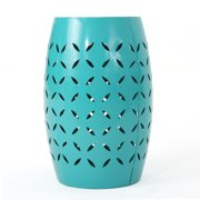 """Lilly Outdoor 12"""" Iron Side Table, Teal"""