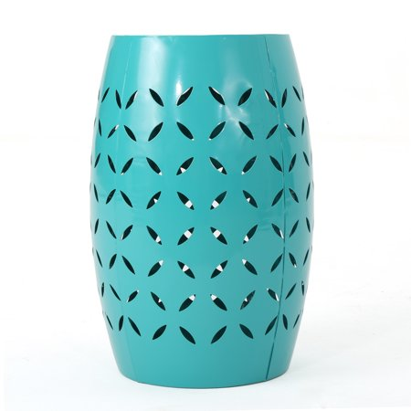 Joyce Lace Cut Iron Accent Table, Teal