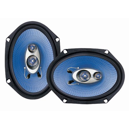 "PYLE PL683BL - 6"" x 8"" Car Sound Speaker (Pair) - Upgraded Blue Poly Injection Cone 3-Way 360 Watts w/Non-fatiguing Butyl Rubber Surround 70-20Khz Frequency Response 4 Ohm & 1"