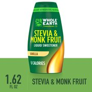 (2 Pack) Whole Earth Sweetener Vanilla Liquid Stevia and Monk Fruit Sweetener, 1.62 Fl Oz