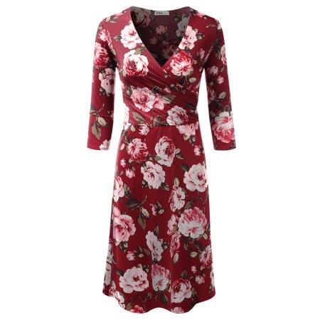 Doublju Women\'s Classic Surplice Dress Plunging Neckline 3/4 Sleeve Knee  Length Wrap Dress BURGUNDYROSE 2XL Plus Size