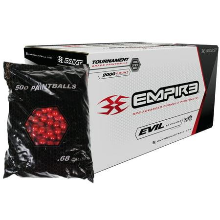 Evil Paintball Jerseys - Empire ULTRA EVIL 2000 Paintballs - Red Metalic Shell - ULTRA EVIL YELLOW FILL