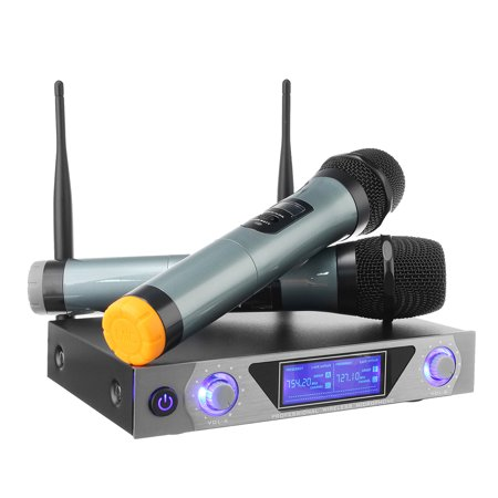 Professional Dual VHF Wireless Handheld Microphone System with LCD Display Cordless 2 Channel Home Karaoke