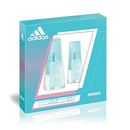 Adidas Moves for Women Gift Set (Eau De Toliette Spray 1.0 ounce Plus Eau De Toilette Spray 0.5 ounce) + Facial Hair Remover Spring