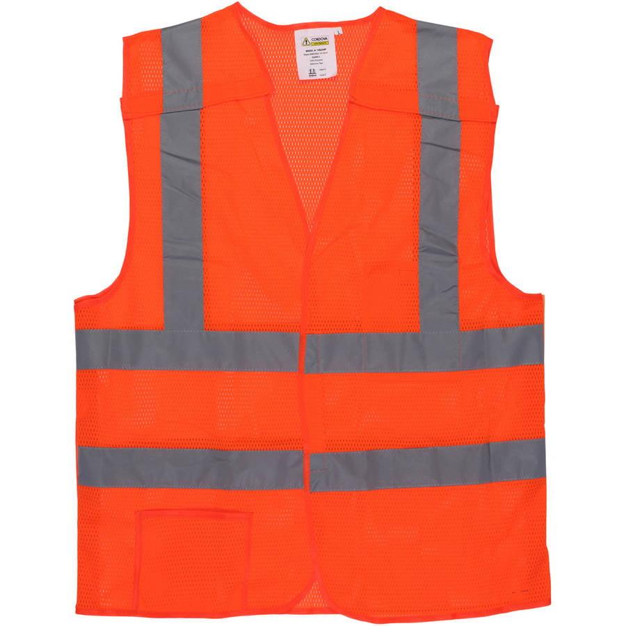 "Cordova Class II 5-Point Orange Breakaway Vest with 2"" Silver Reflective Tape"