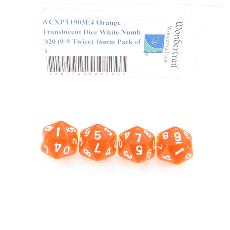 Orange Translucent Dice with White Numbers D20 (0-9 Twice) Aprox 16mm (5/8in) Pack of 4 Wondertrail
