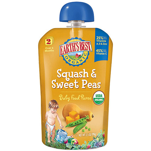 Earth's Best Baby Food Puree Squash & Sweet Peas 3.5oz - Stage 2 (Pack of 6)