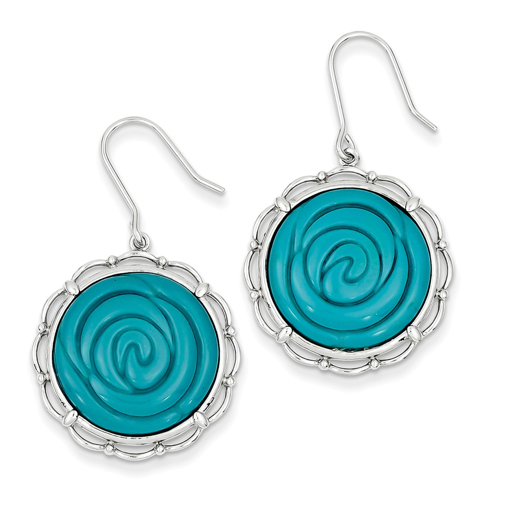 Sterling Silver Synthetic Turquoise Dangle Earrings (1.5IN x 0.8IN )