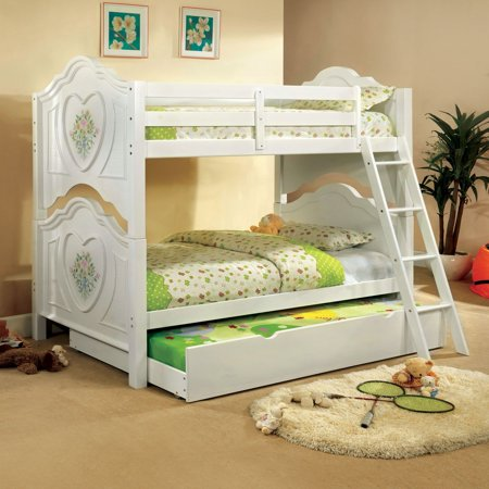 Furniture Of America Rosalina Floral White Bunk Bed With Trundle