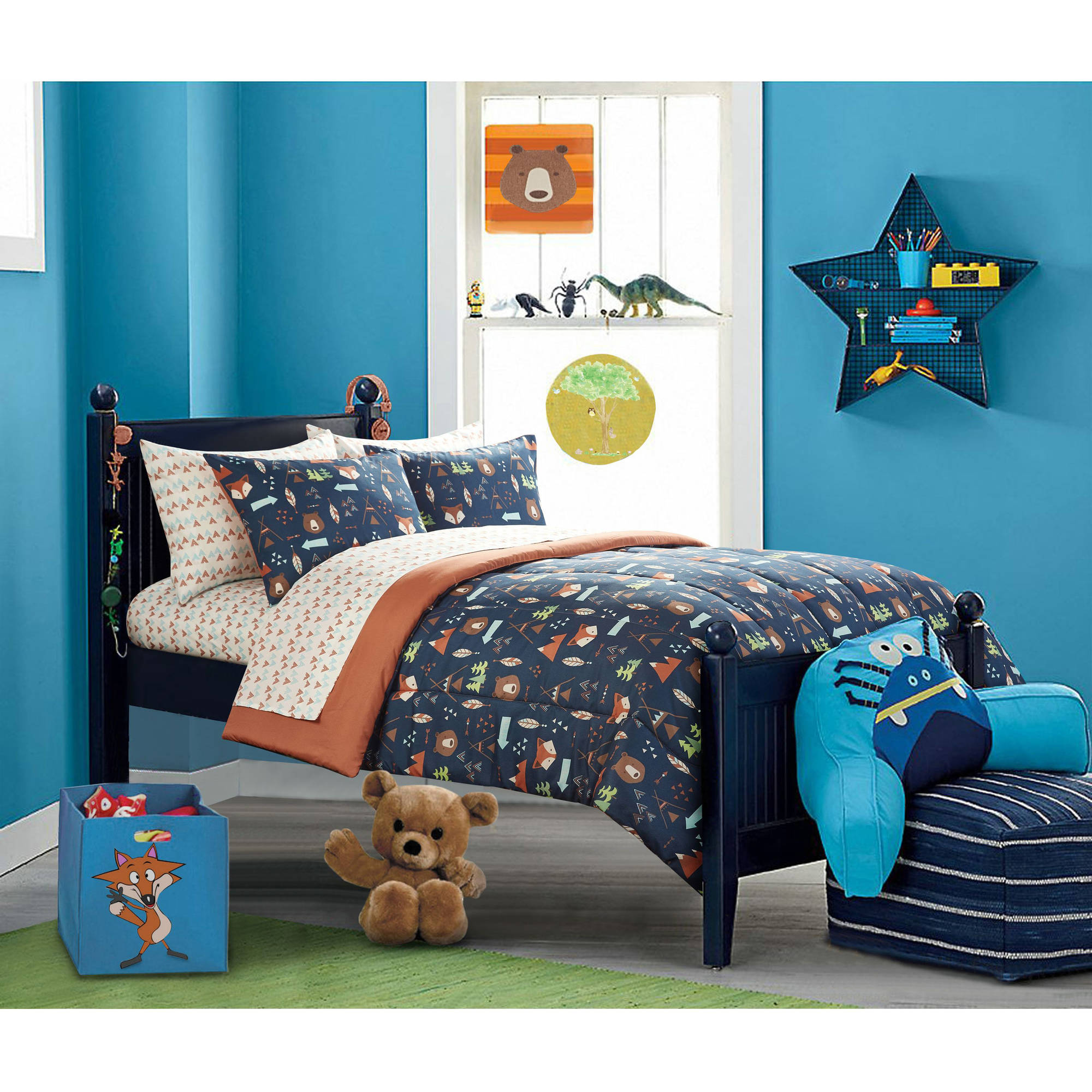 toddler boy bedroom sets mainstays woodland safari boy bed in a bag bedding 17535