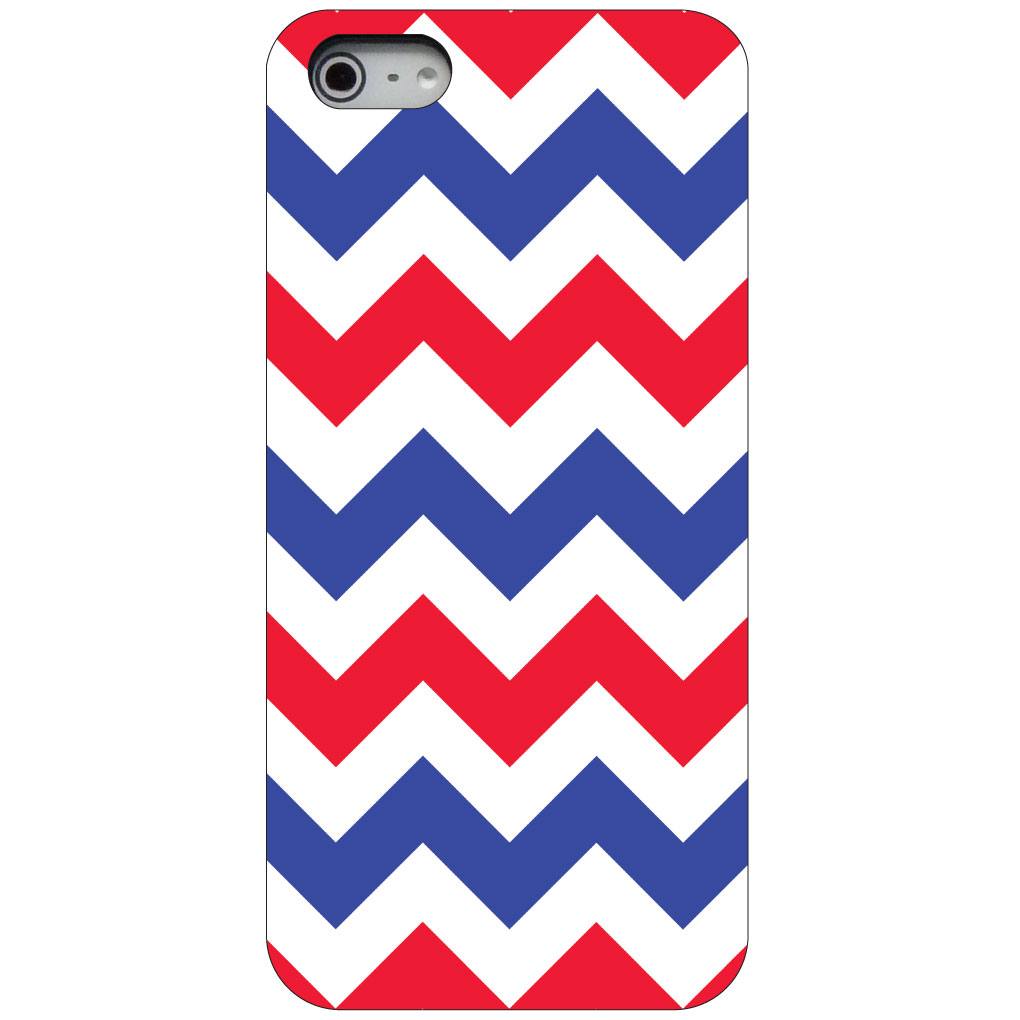 CUSTOM Black Hard Plastic Snap-On Case for Apple iPhone 5 / 5S / SE - Red Blue White Chevron Stripes