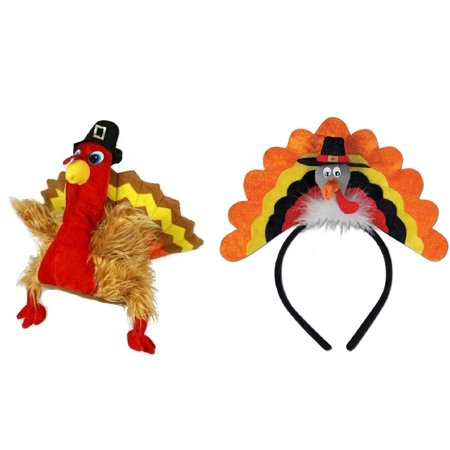 4fa1be82005 Plush Pilgrim Turkey Hat Trot Headband Thanksgiving Fall Autumn ...