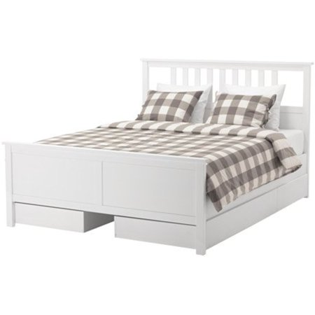 Ikea Queen Size Bed Frame With 4 Storage Bo White Stain Luröy 18204 23811 2210