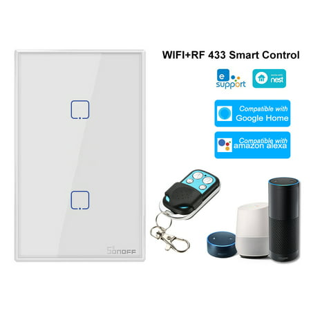 T2US2C-TX 2 Gang Smart WiFi Wall Light Switch 433MHz Wireless Control RF Remote Controller APP/Touch Control Timer Standard Panel Smart Switch Compatible with Home/Nest &