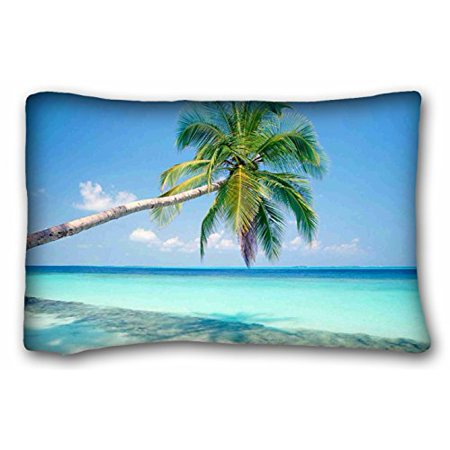 WinHome Pillowcase Design Style Sandy Tropical Paradise Beach With Palm Trees And The Sea Ocean Pillow Protector, Best Pillow Cover Standard Size 20x30 Inches Two Sided (Best Beaches With Palm Trees)