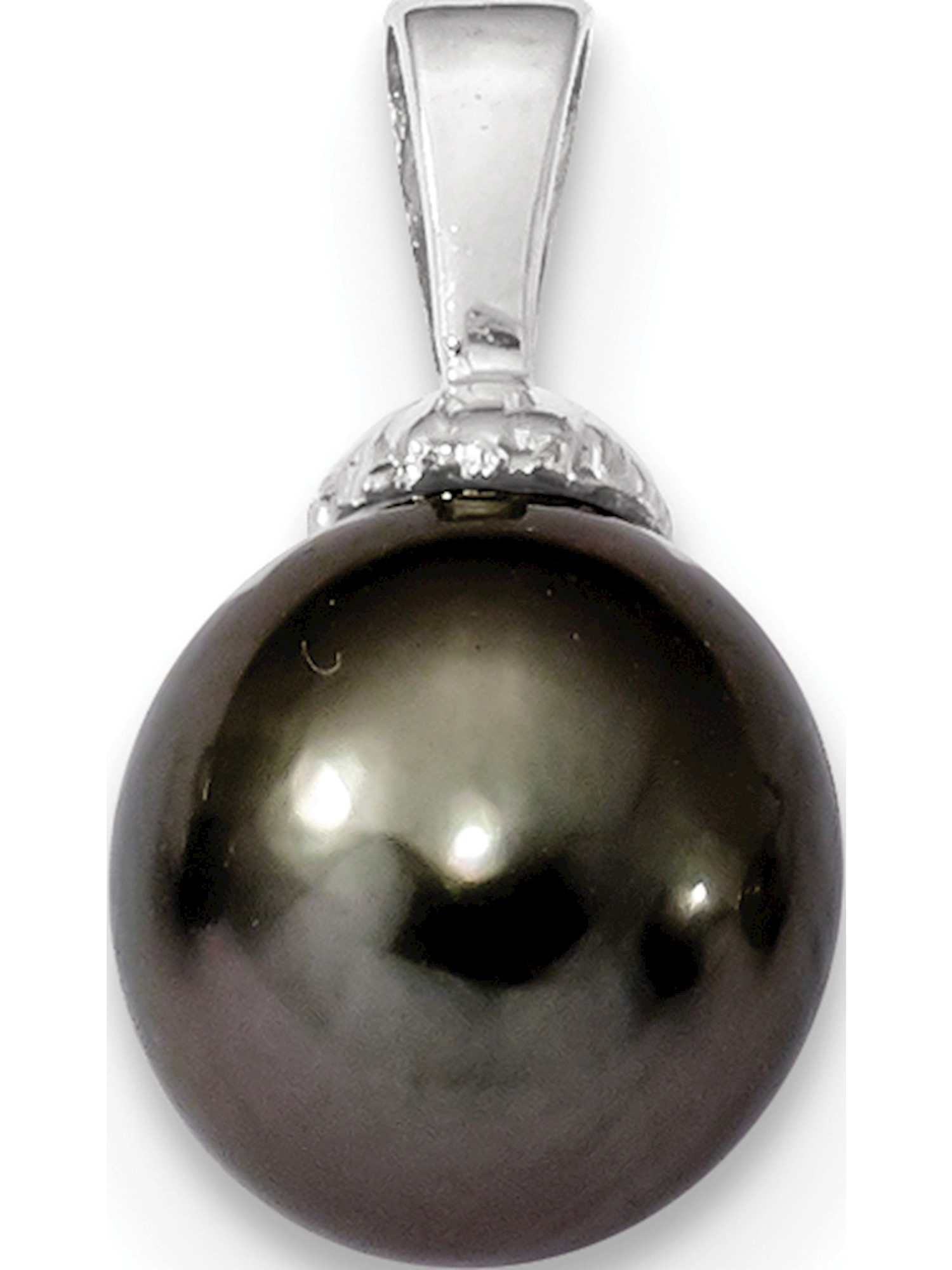 14k White Gold 10-11mm Black Tahitian Cultured Pearl Pendant   Charm by