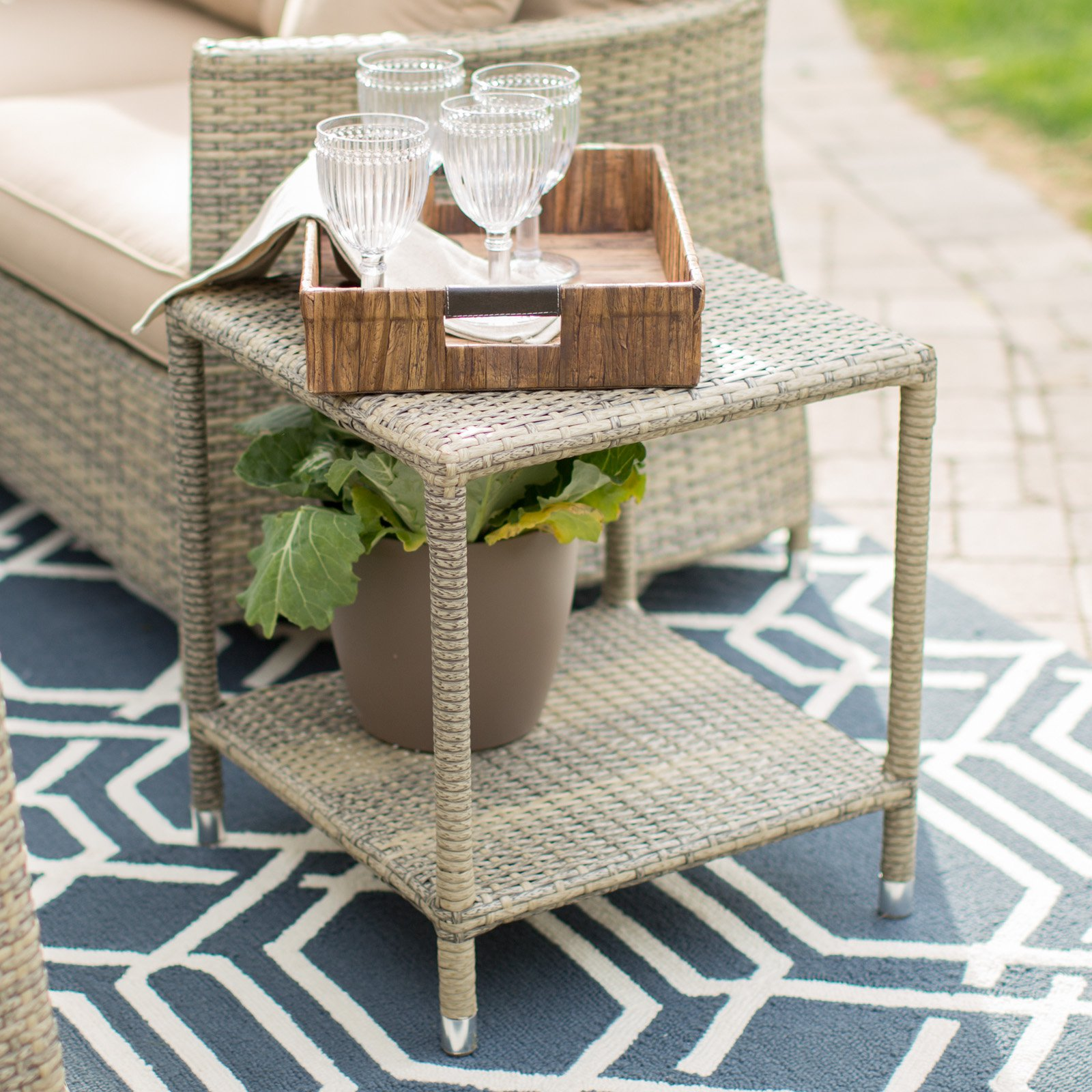Coral Coast South Isle Natural All Weather Wicker Side Table by 4 Seasons Global Inc