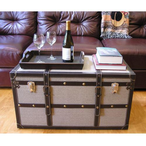 Styled Shopping Inc Decorative Vienna Large Wood Steamer Trunk Wooden Treasure Hope Chest