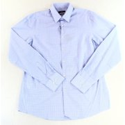 Hugo Boss NEW Blue White Mens Size 16 1/2 Glen Plaid Button Down Dress Shirt $95