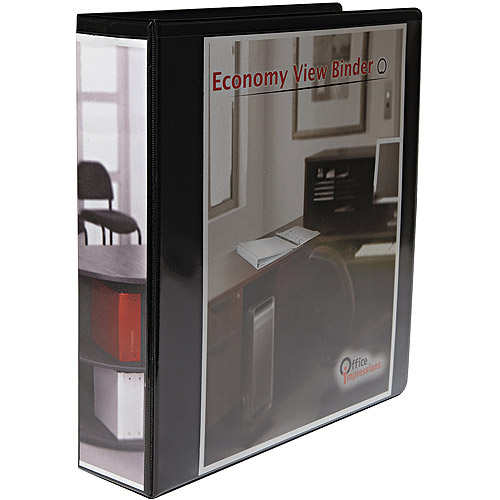 "Office Impressions Economy Round Ring View Binder, 2"" Capacity, Black"