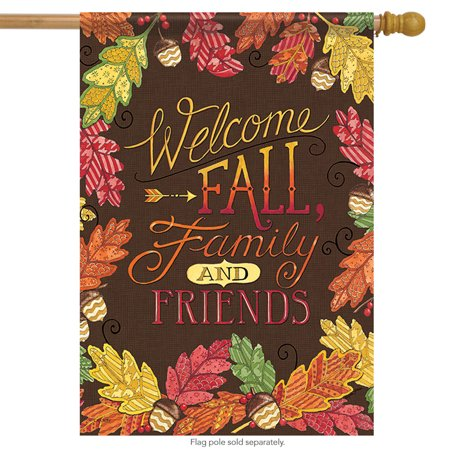 Fall, Family, Friends House Flag Autumn Leaves Acorns Double Sided 28