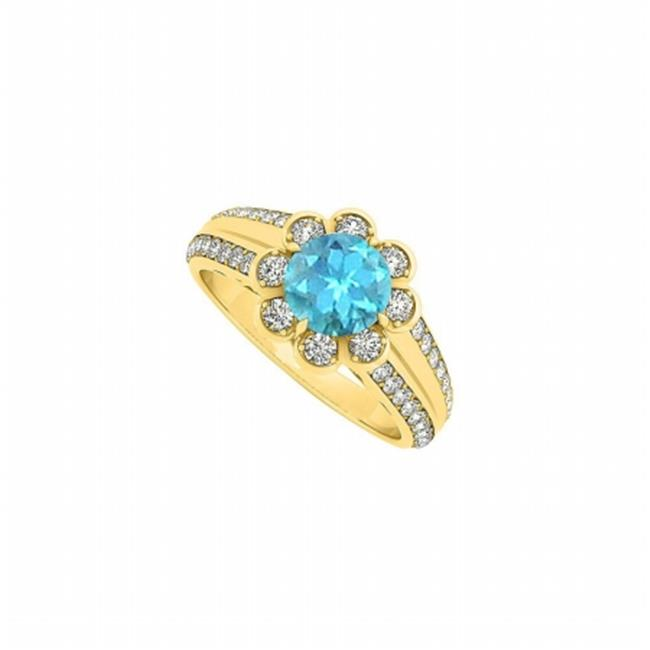 Fine Jewelry Vault UBUNR50570AGVYCZBT Fancy Blue Topaz & CZ Floral Ring in 18K Yellow Gold Vermeil over Sterling Silver - 1.50 CT TGW , 8 Stones
