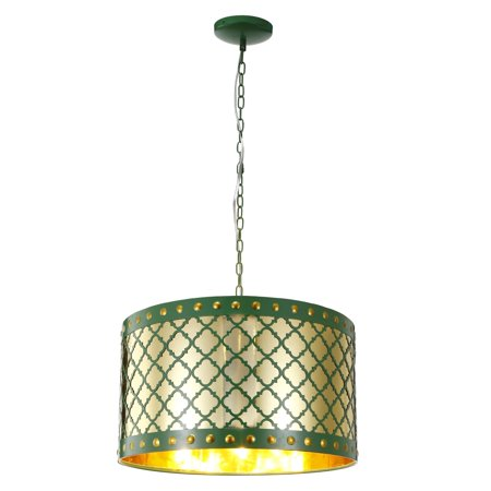A and B Home Audriana Green Metal Ceiling 1-light Pendant Fixture