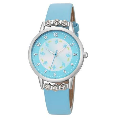 Gescar Women Fashion Cute Rhinestone Watch Round Dial Quartz Clock Wristwatch with Leather Strap Light blue strap with light blue dial
