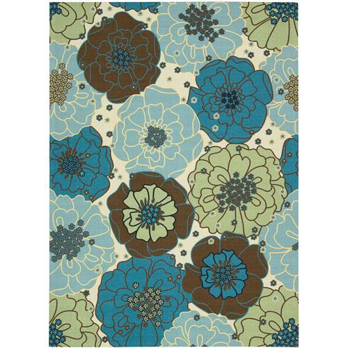 Nourison Home and Garden Polyester Indoor/Outdoor Rug, Light Blue