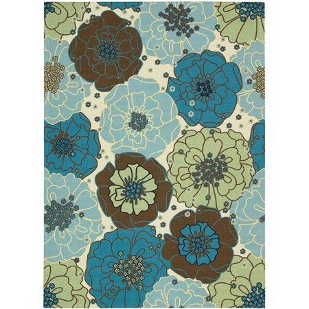 Nourison Home and Garden Polyester Indoor/Outdoor Rug, Light Blue ...