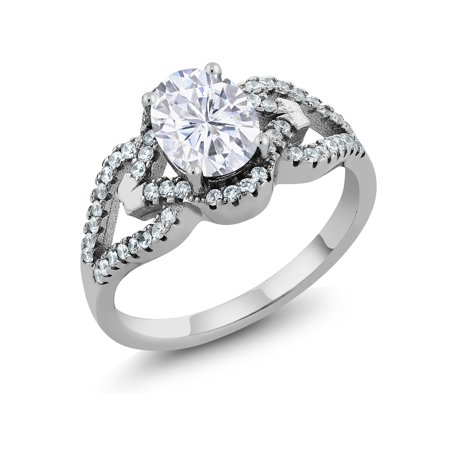 925 Silver Ring Forever Brilliant GHI Oval Created Moissanite 1.50ct DEW (Ghd Oval)