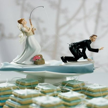 Gone Fishing Porcelain Wedding Cake Topper - Caucasian Couple (2 set, 1 bride + 1 groom)