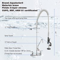"Aquaterior Commercial Pre-Rinse Kitchen Faucet Double Handle Brass Wall Mount w/ 12"" Add-On Pull Down CUPC NSF"