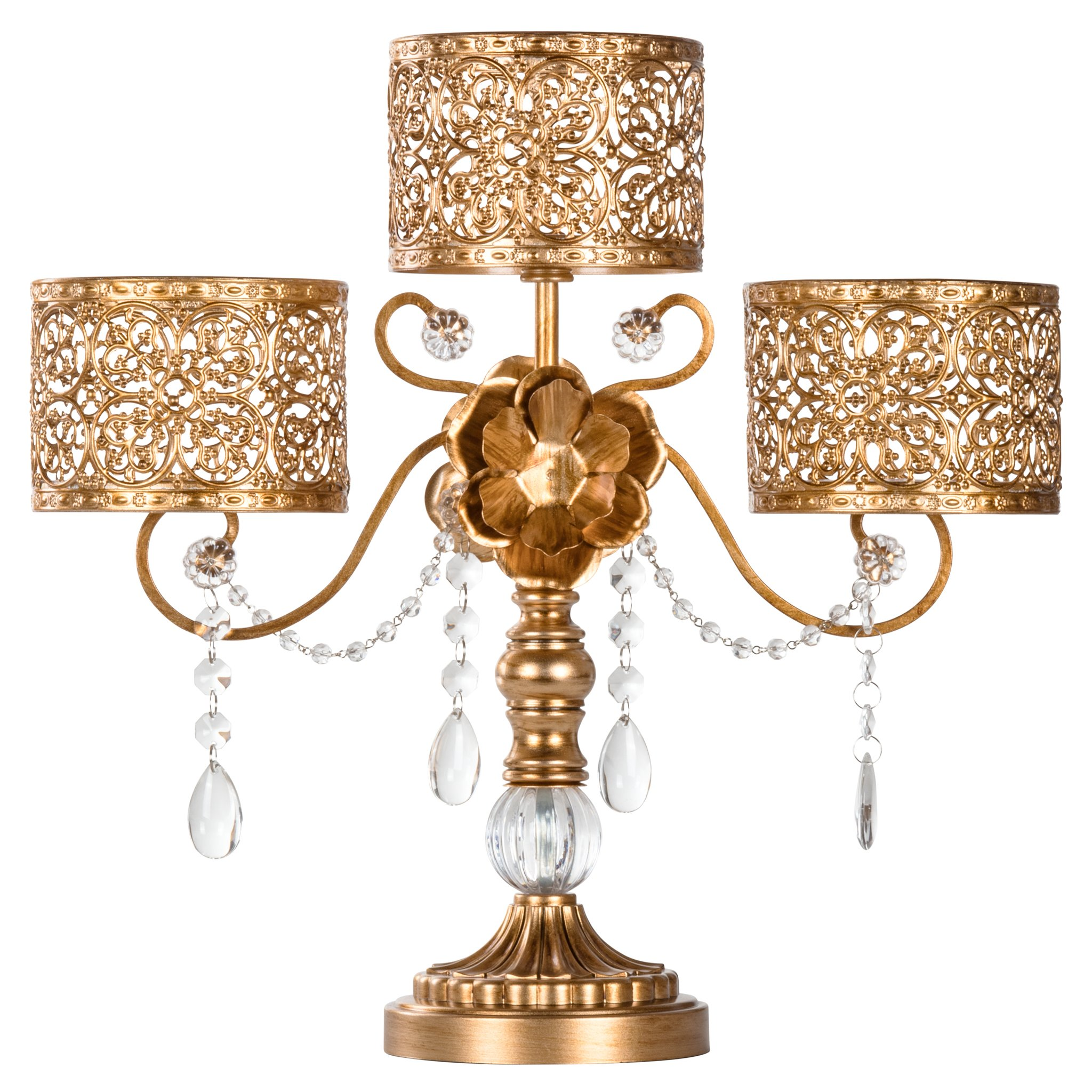 Amalfi Decor Antique 3 Pillar Crystal-Draped Hurricane Candle Holder Centerpiece (Gold) | Stainless Steel Frame with... by