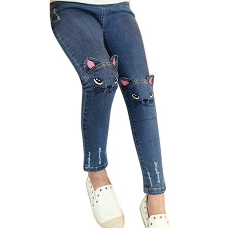 Girl Embroidered Kitten Cute Pattern Cat / Bunny Jeans Fashion Trousers Cat ear jeans 100 ()