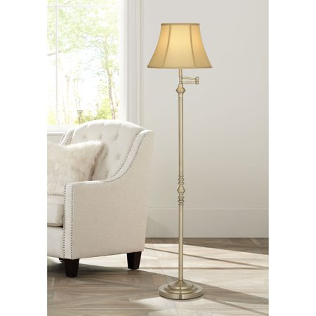 Regency Hill Traditional Floor Lamp Swing Arm Antique Brass Off White Bell Shade for Living Room Reading Bedroom - Antique Brass Halogen Swing Arm